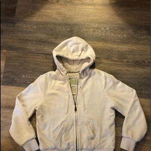 Ladies Green Tea fur lined fleece jacket sz small